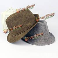 Мужчины женщины хлопок широкими полями шляпы ПАНАМА Фетровые шапки джаз топ пляж шляпу козырька