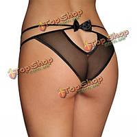 Женщины сексуальная перспектива сетки трусики Bowknot полые заниженной талией трусы