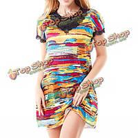 Женщины окрасить короткий рукав пижамы красочные печати кружева сорочку