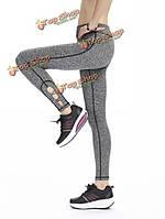 Женщины крест упругой ноги быстросохнущие плотно работает йога тренировки брюки леггинсы