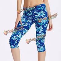 Женщины работают из обрезанные брюки мульти печатным рисунком спортивная йога стрейч леггинсы брюки