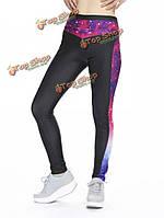 Женщины 3d галактики печать леггинсы высокой талии йога стрейч брючный бега gymswear