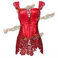 Женщины Кожезаменитель корсета сексуальные ремни Overbust суд Steampunk готические бюстье с кружевом юбкой