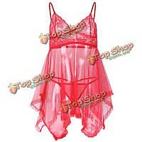 Женщин сексуальные кружева перспективе сетки пижамы спагетти ремень ночной рубашке
