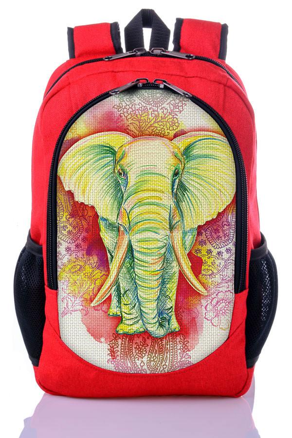 """Подростковый рюкзак """" Индийский слон """" (красный)"""