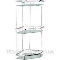 Полочка для ванной комнаты со стеклом на три яруса