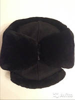 Зимняя шапка форменная искусственный мех черный верх сукно черное