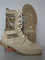 Берцы Нато нубук песочного цвета с тканевыми камуфляжными вставками пиксель коричневый Собственное производств