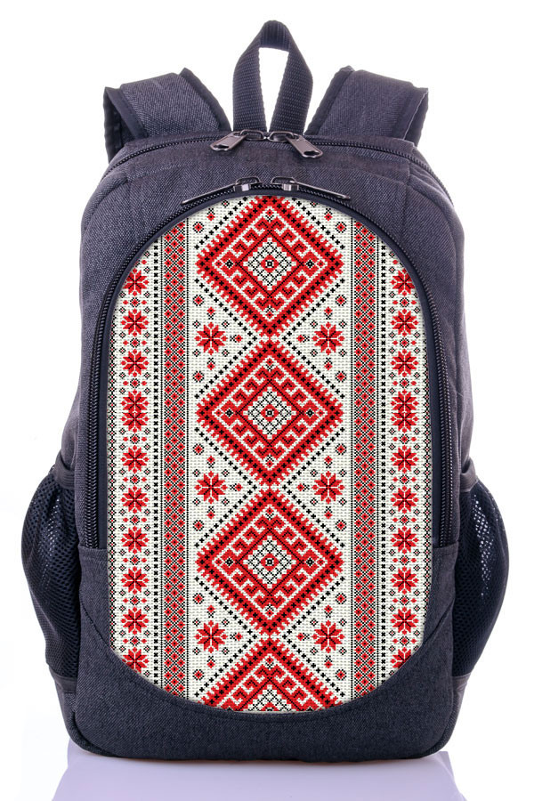 """Взрослый рюкзак """" УКРАИНСКИЙ ОРНАМЕНТ """" (серый)"""