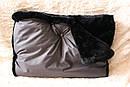 Муфта для рук серая на черном мутоне, фото 2