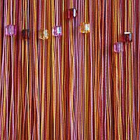 Шторы  нити  радуга со  стеклярусом №104