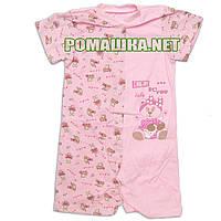 Детский песочник-футболка р. 80 ткань КУЛИР 100% тонкий хлопок ТМ Алекс 3092 Розовый-1
