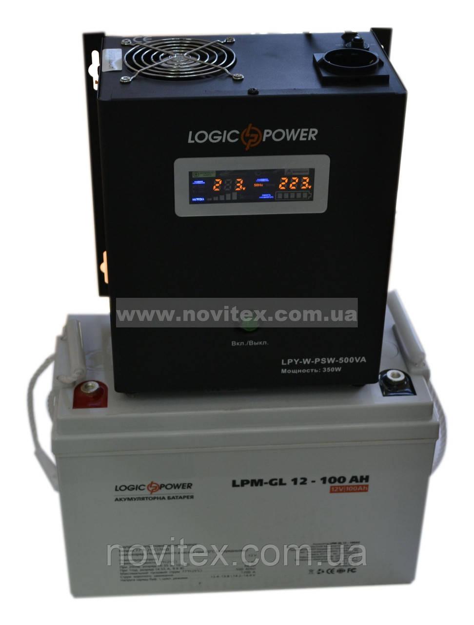 Комплект резервного питания ИБП Logicpower LPY-W-PSW-500 + АКБ LP-GL100