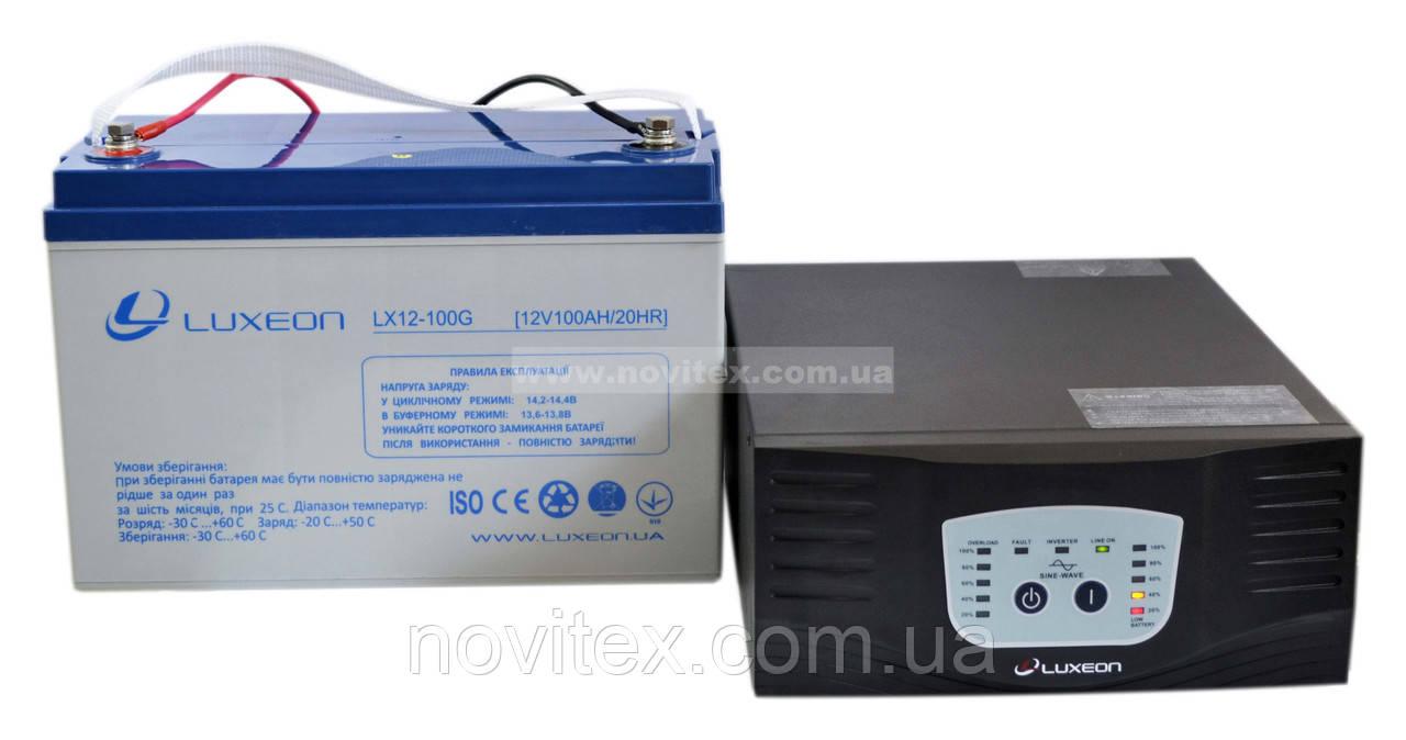 Комплект резервного питания ИБП Luxeon UPS-1000ZY + АКБ LX12-100G