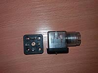 Соединитель электрический (разъем) СЭ11-19 для соленоидов гидрораспределителя со светодиодом, нового образца, фото 1