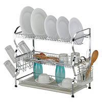 Сушилка для посуды трехъярусная 68*26*48см с поддоном