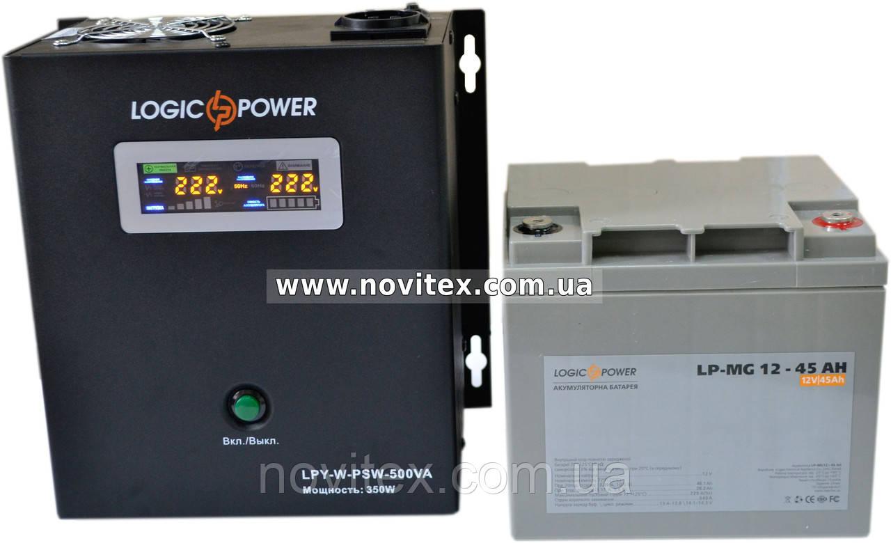 Комплект резервного питания ИБП Logicpower LPY-W-PSW-500 + АКБ LP-MG45