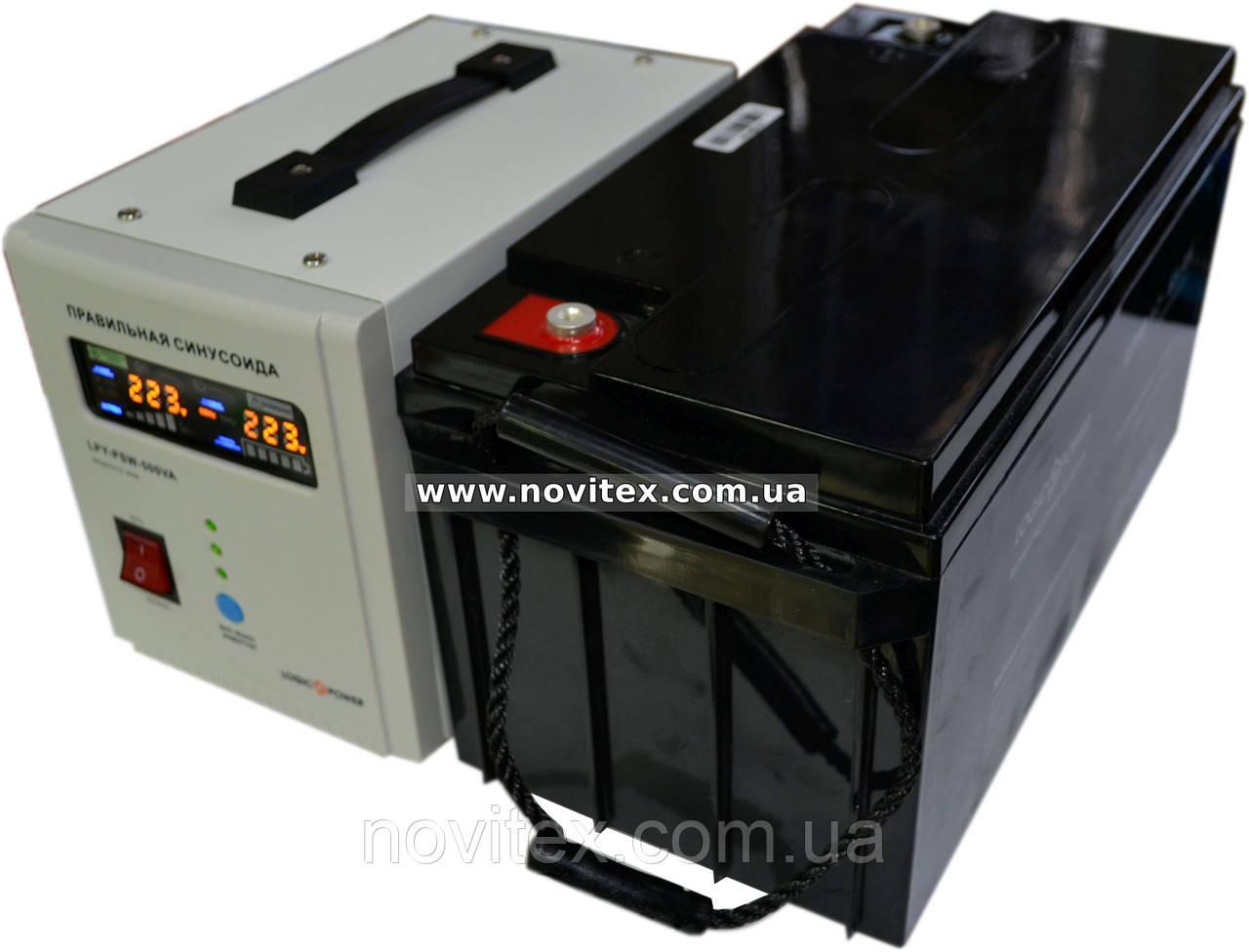 Комплект резервного питания ИБП Logicpower LPY-PSW-500 + АКБ LPM12-65