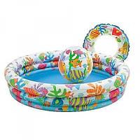 Детский надувной бассейн Intex с мячом и кругом