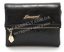 Компактный оригинальный женский  кошелек черного цвета FUERDANI art.FW-88020
