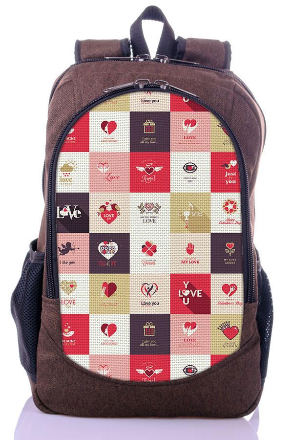 """Взрослый рюкзак """" LOVE"""" (коричневый)"""