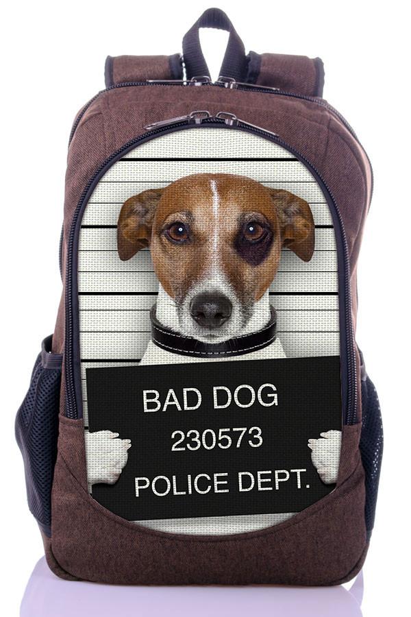 """Взрослый рюкзак """" Плохая собака"""" (коричневый)"""