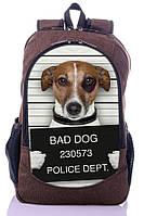 """Взрослый рюкзак """" Плохая собака"""" (коричневый), фото 1"""