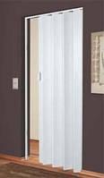 Складная дверь-гармошка Plaza 88x203 белое дерево  (рисунок дерева серого тона)