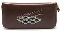 Женский кошелек борсетка  art. 758 коричневый со стразами