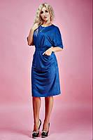 Стильное из тонкого замша платье  цвета морской волны