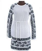 Женское вышитое платье из льна Зеленый, Лен, Длинный, 42