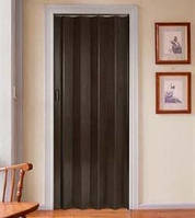Складная  дверь-гармошка Plaza 88x203 черно-коричневое дерево (венге)