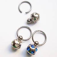 Кольцо сегментное (шарик с подвеской) для пирсинга. Медицинская сталь, горный хрусталь.