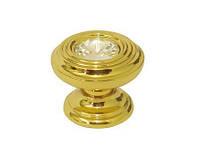 Ручка кнопка с кристаллом E9953.100 глянцевое золото