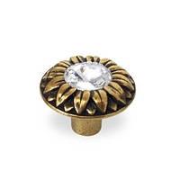 Ручка кнопка с кристаллами Swarovski URB-25-99 античное золото, фото 1