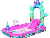 """Детский надувной игровой центр-бассейн BestWay """"Русалочка"""" с душем и горкой  264-168-180 см."""
