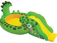 Детский надувной игровой центр-бассейн Добрый крокодил intex 251х140х86 см