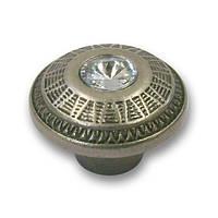 Ручка кнопка с кристаллами S2028-41ZN31JE4 старое серебро, фото 1
