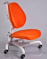 Кресло с белым металлическим основанием Y-718 WKY обивка оранжевая однотонная Mealux