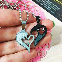 """Кулон """"Половинки сердца"""" для влюбленных, пара (набор). Подвеска, Сталь, Сердце, день святого Валентина, черный"""