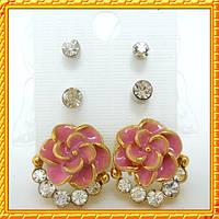 Набор Серьги Пышноцвет Розовый со Стразами + Пуссеты Стразы 2 пары.