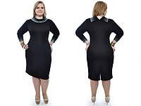 Модное облегающее черное платье с камнями в многогранной обработке