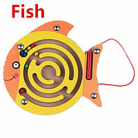 """Деревянный развивающий магнитный планшет-лабиринт """"Рыбка"""""""