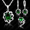 Ювелирный комплект Зеленый хрусталь 3 в 1 серебро 925