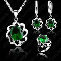 Ювелирный комплект Зеленый хрусталь 3 в 1 серебро 925, фото 1