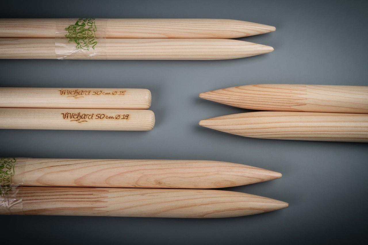 Деревянные спицы для вязания 20 мм, 37 см, ТМ Vivchari