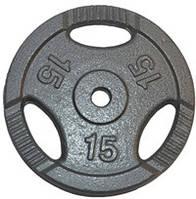 Диск для штанги метал, порошкове фарбування 15 кг