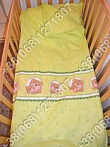 Детское постельное белье и защита бортик в детскую кроватку Мишка в круге салатовый, фото 3