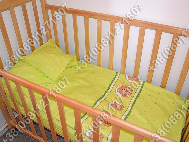 Детское постельное белье в кроватку, постельный комплект (мишка в круге салатовый)