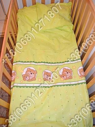 Детское постельное белье в кроватку, постельный комплект (мишка в круге салатовый), фото 2